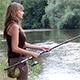 Girl Fishing on the River - VideoHive Item for Sale