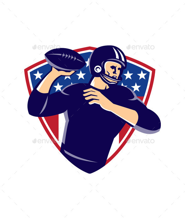 American Quarterback Football Player Shield - People Characters