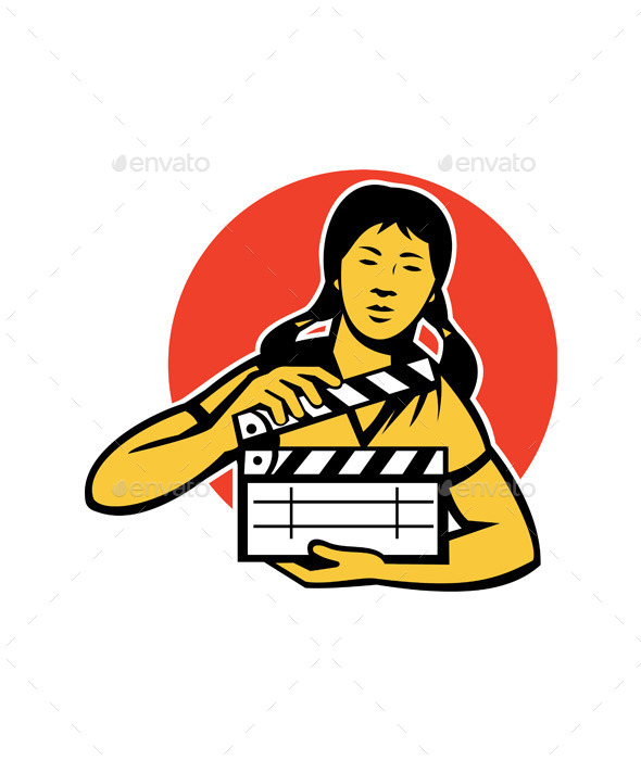 Asian Woman with Movie Clapboard - People Characters
