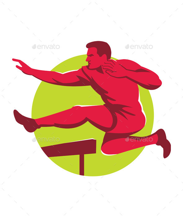 Retro Track and Field Athlete Jumping Hurdles - People Characters