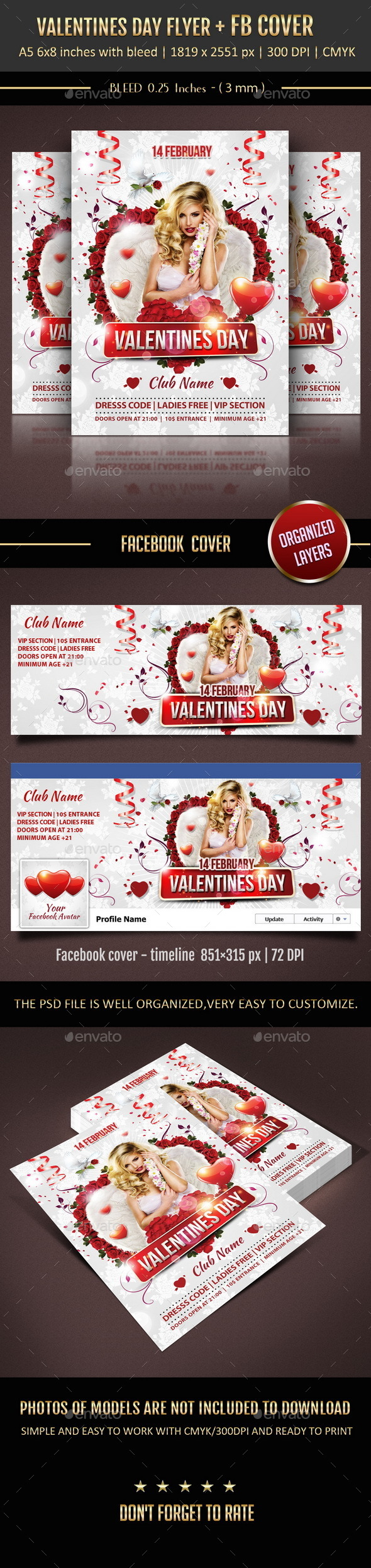 Valentines Day Flyer + Facebook Cover - Holidays Events
