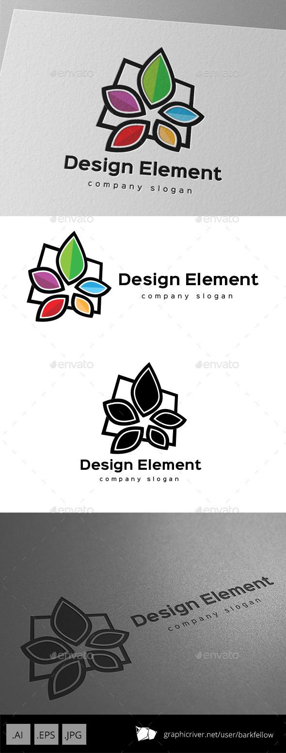 Five Color Element Flower Logo - Nature Logo Templates