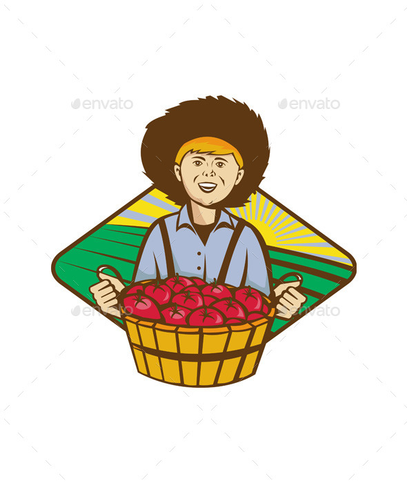 Farmer Boy Straw Hat Tomato Harvest - People Characters