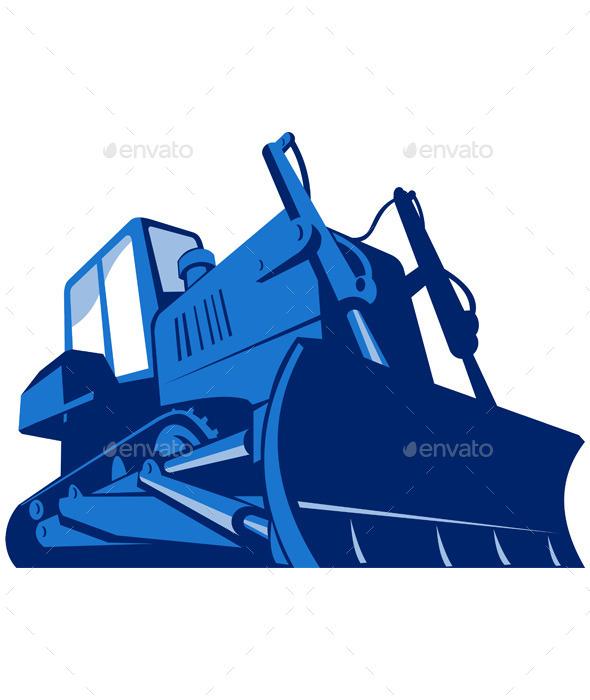 Retro Bulldozer - Objects Vectors