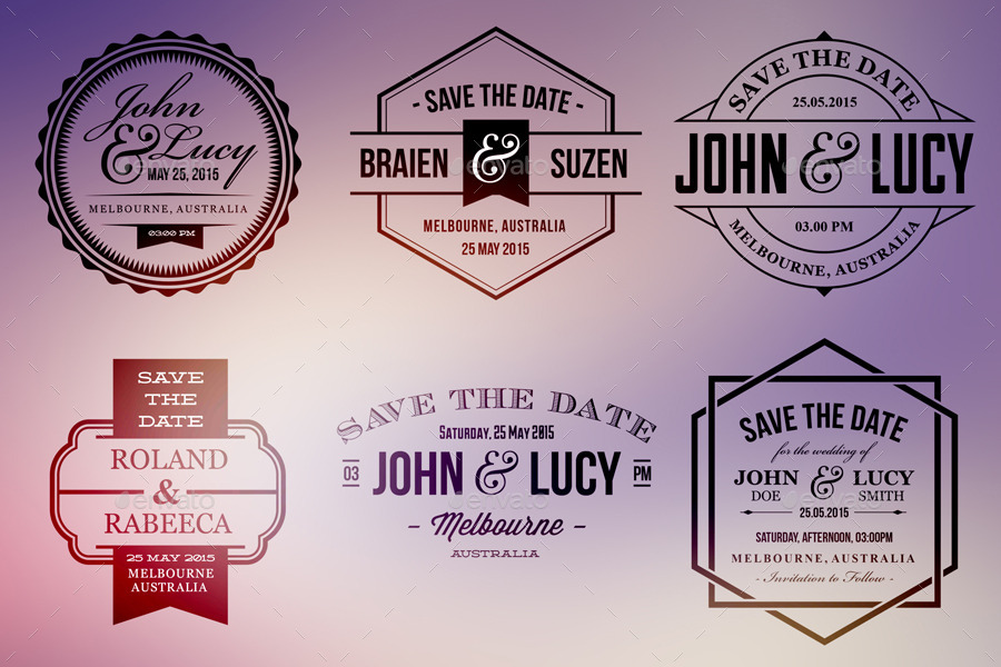 15 Wedding Badge Labels V2 By Ideaofart | Graphicriver