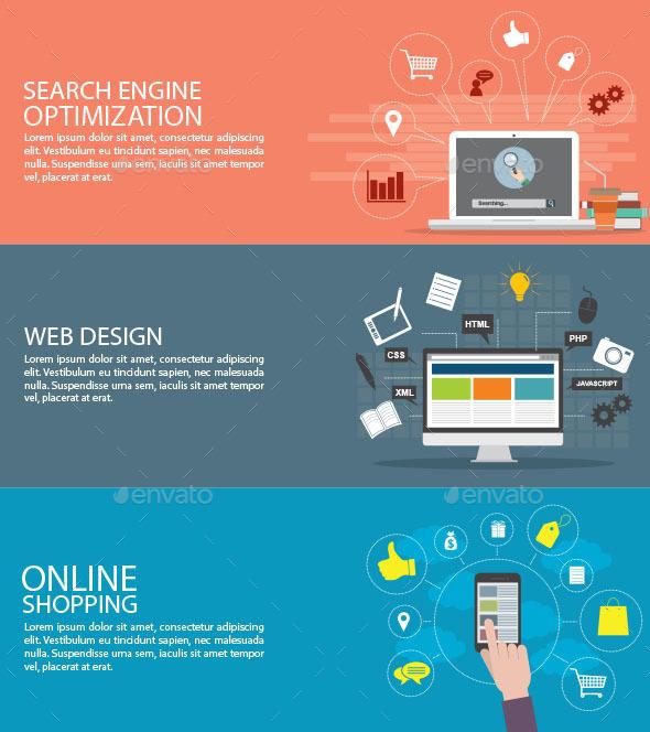 Flat Design Concept - Web Technology