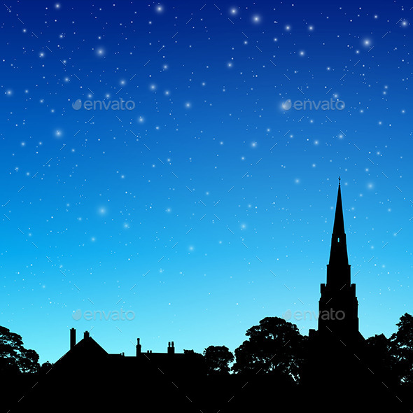 Church Spire with Night Sky - Landscapes Nature