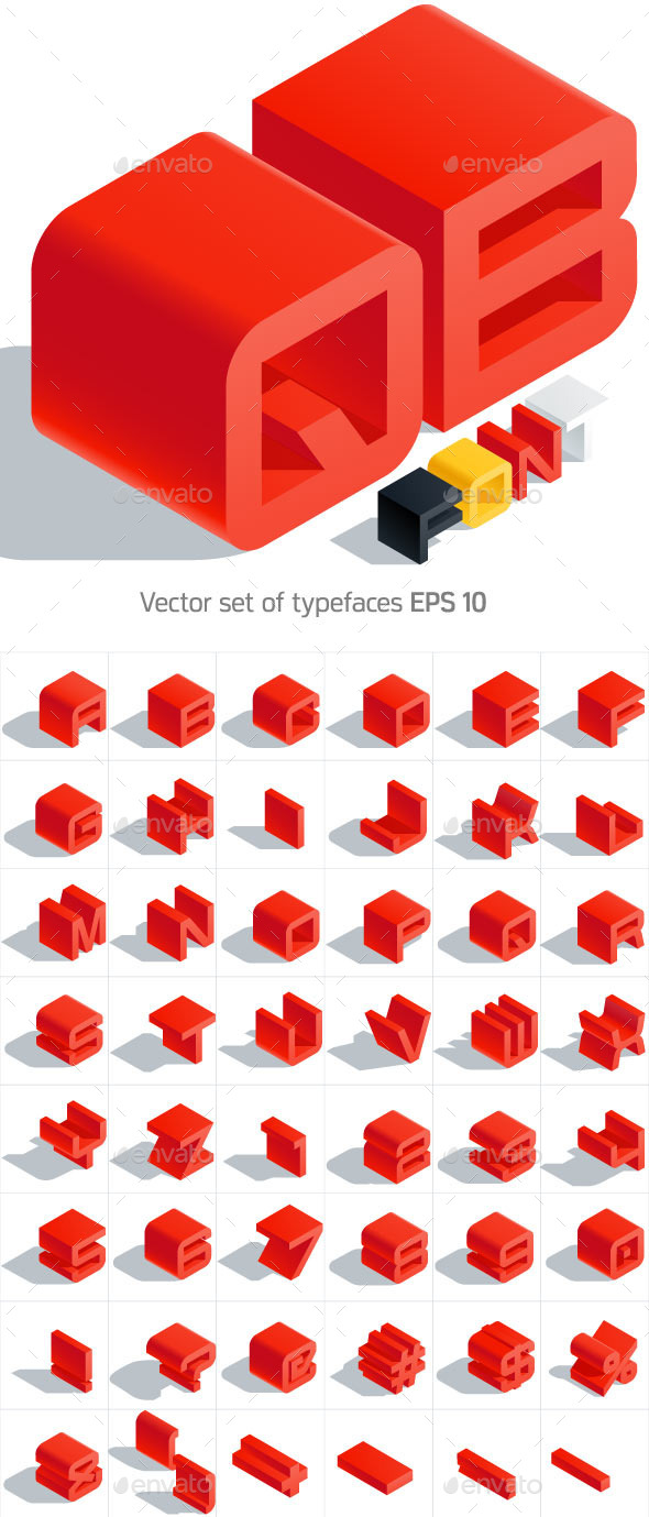 Isometric Alphabet  - Objects Vectors