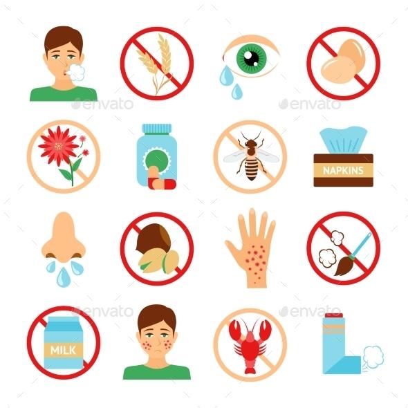 Allergy Icons Set - Health/Medicine Conceptual