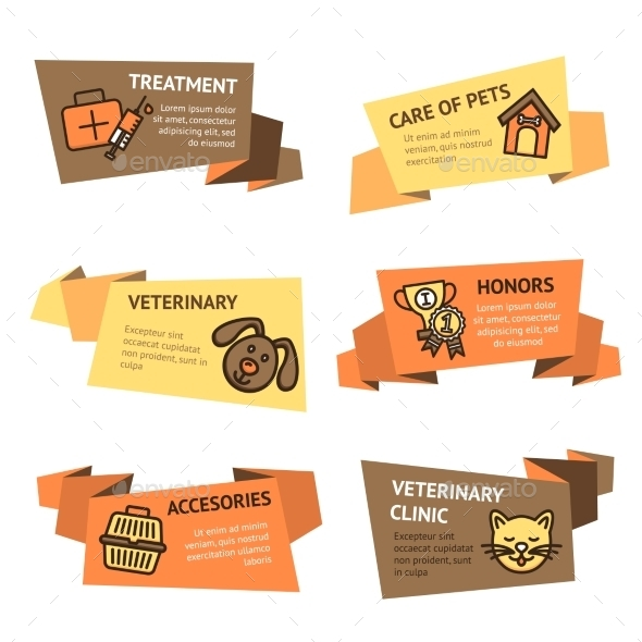 Veterinary Banner Set - Animals Characters