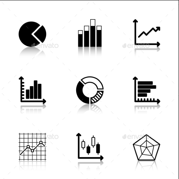Diagram Icons Set with Reflection - Business Icons