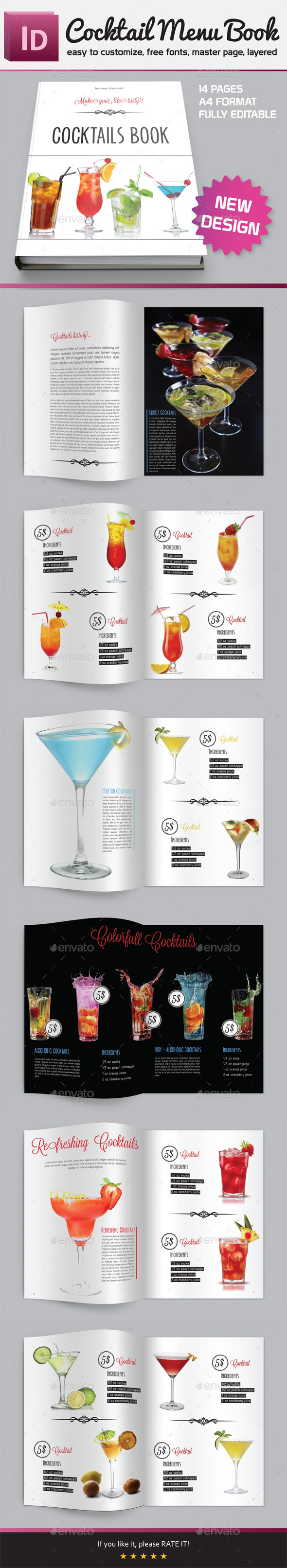 Cocktail Menu Book - Brochures Print Templates