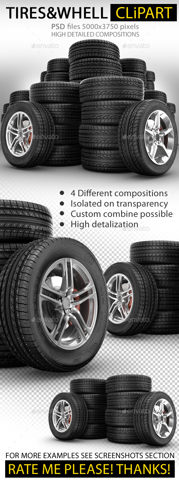 Rubber Tires Wheels - Objects 3D Renders