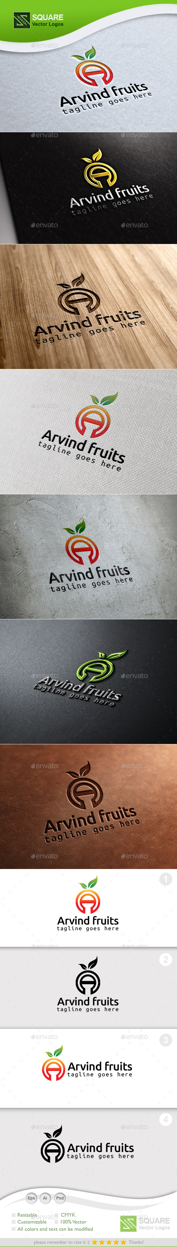 Alphabet Fruit Custom Logo Template - Symbols Logo Templates