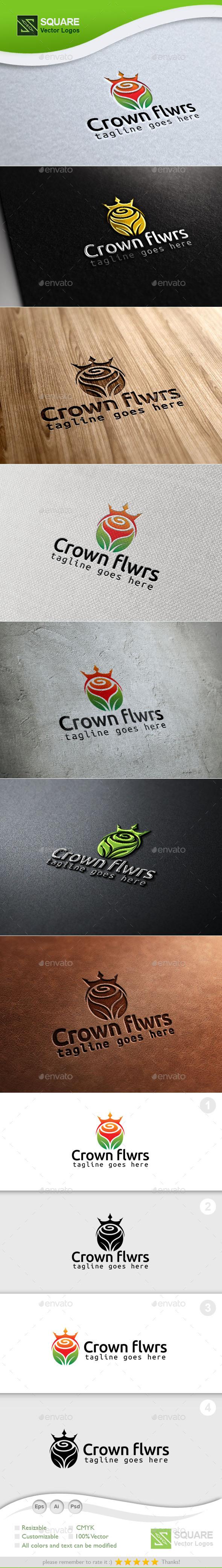 Crown Flower Custom Logo Template - Symbols Logo Templates