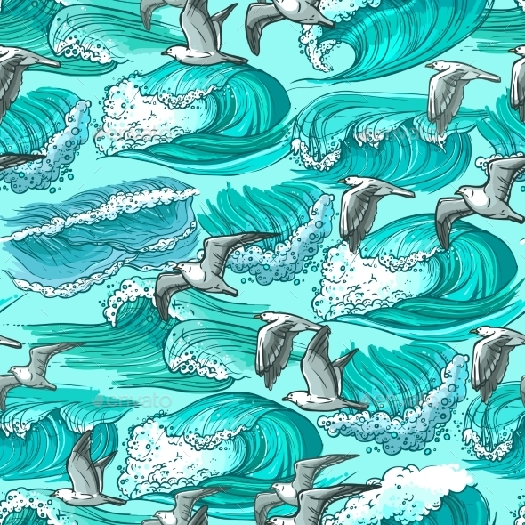 Sea Waves Seamless Pattern - Backgrounds Decorative
