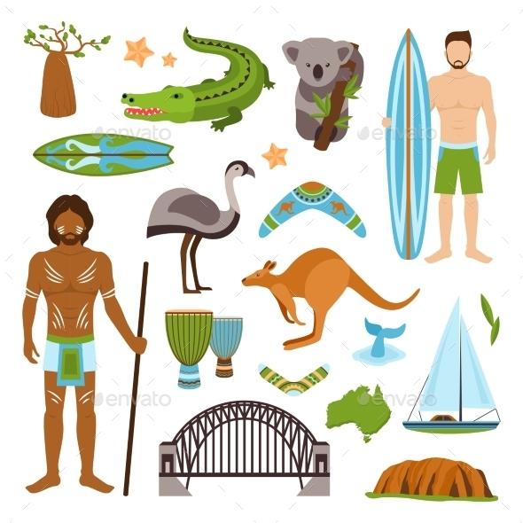 Australia Icons Set - Travel Conceptual