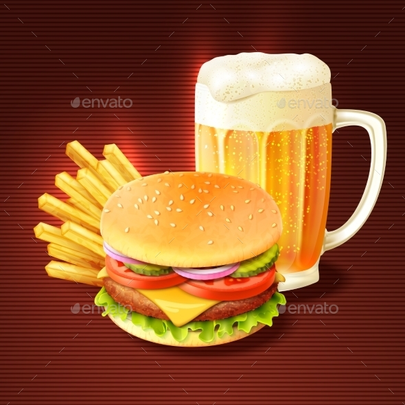 Hamburger And Beer Background - Food Objects
