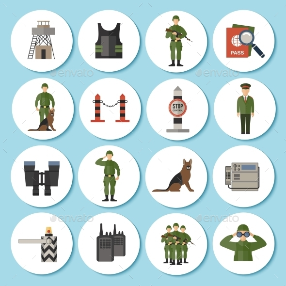 Border Guard Icon Flat - People Characters