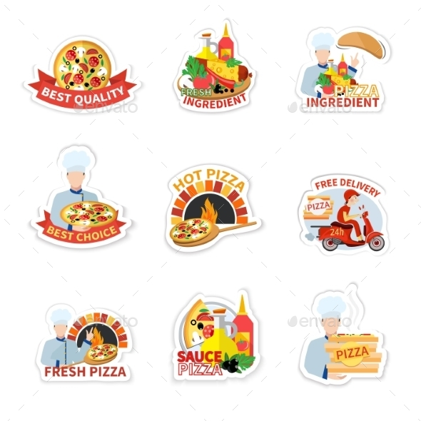 Pizza Label Set - Food Objects