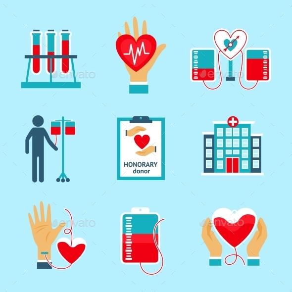 Donor Icons Set - Health/Medicine Conceptual