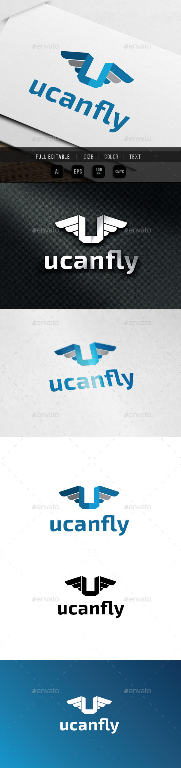 Letter U - Fly Wing Logo - Letters Logo Templates