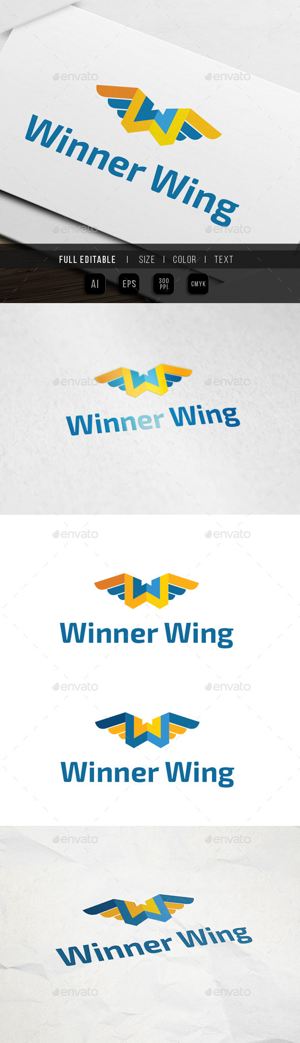Letter W - Fly Wing Logo - Letters Logo Templates
