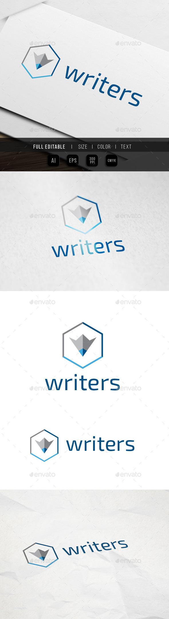 Hexa Content Writer Logo - Objects Logo Templates