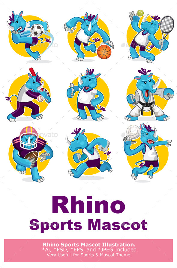 Rhino Sports Mascot Collection Set - Sports/Activity Conceptual