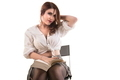 Beautiful Woman Sitting On Chair With Book On Lap - PhotoDune Item for Sale