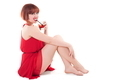 Happy Beautiful Young Woman Drinking Cocktail On White Background - PhotoDune Item for Sale