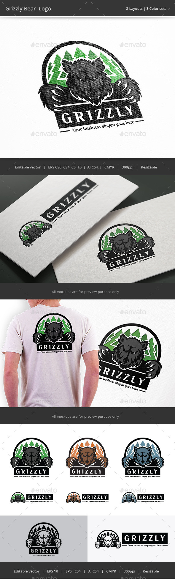 Grizzly Bear Forest Logo - Nature Logo Templates