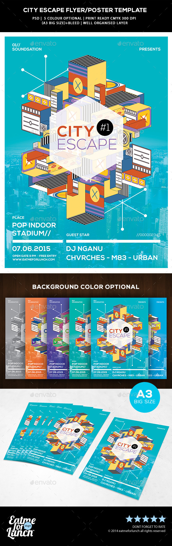Abstract Flyer/Poster Templates - City Escape - Concerts Events