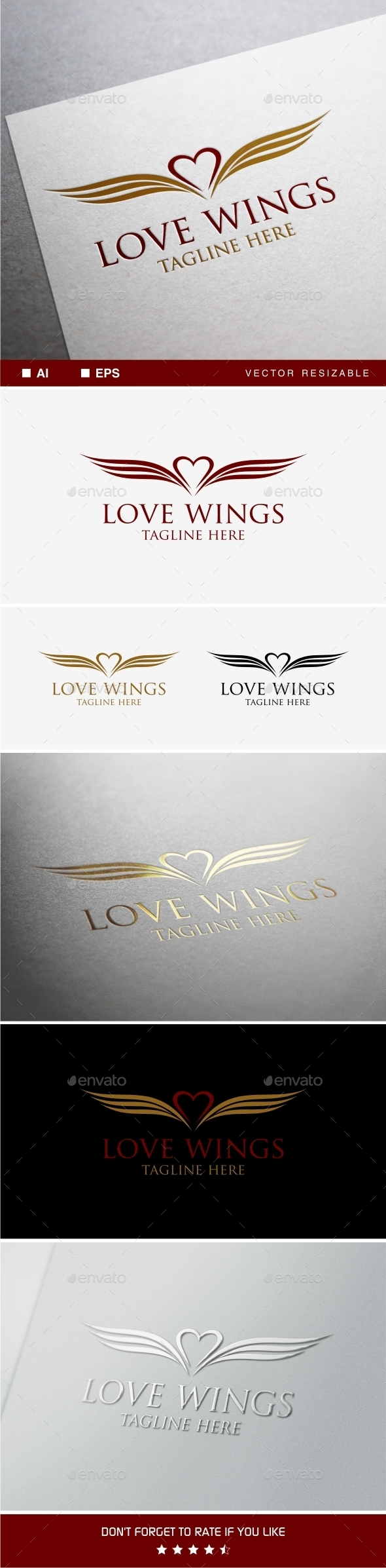 Love Wings Logo Template - Crests Logo Templates