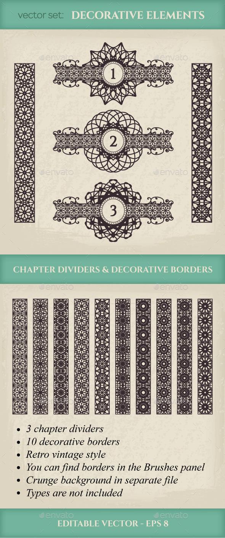 Vector Calligraphic Design Elements - Borders Decorative