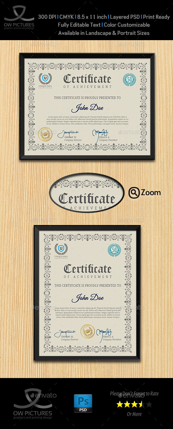 Multi Purpose Certificates Template Vol.1 - Certificates Stationery