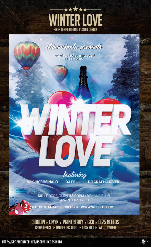 Winter Love Flyer Template - Flyers Print Templates
