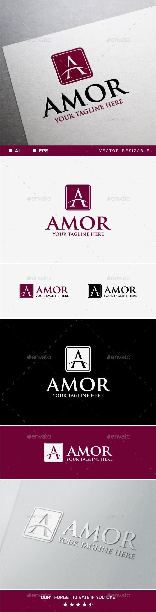 Amor Logo • A Letter Logo Template - Letters Logo Templates