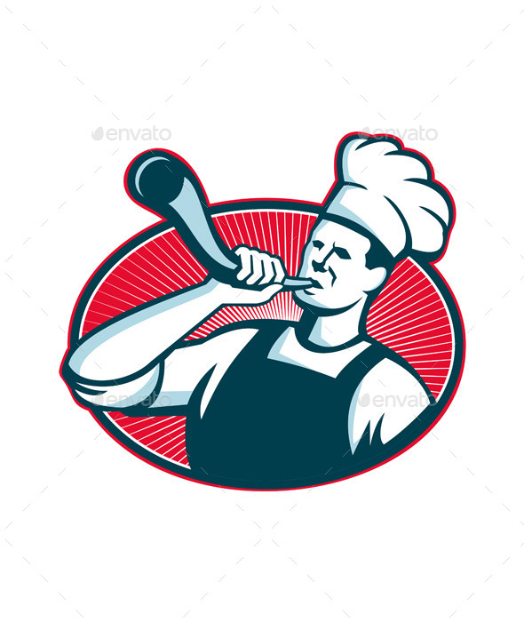 Chef or Cook Blowing a Bullhorn  - People Characters