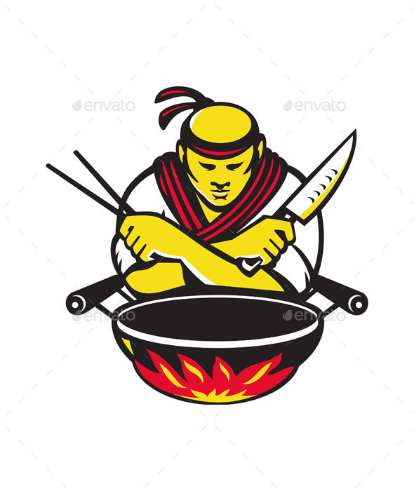 Japanese Cook with Knife Wok - People Characters