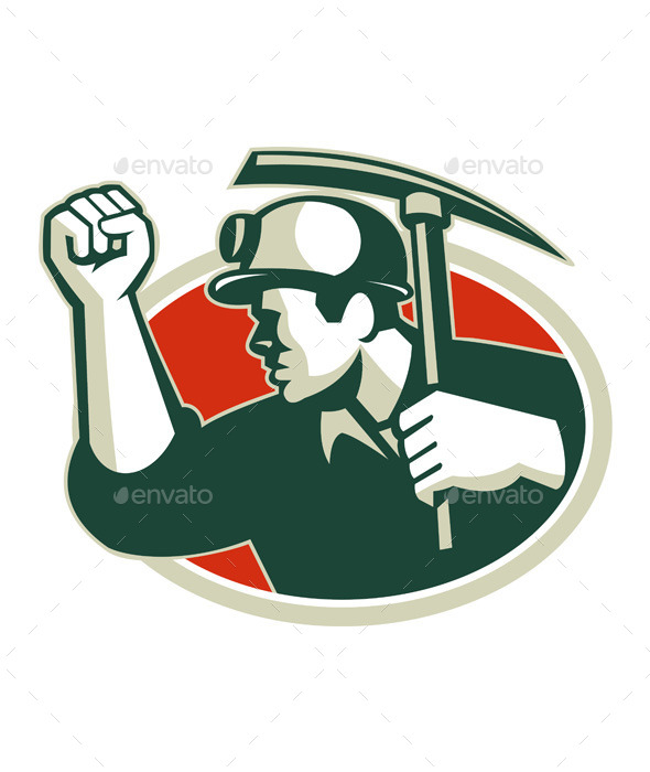 Coal Miner Pump Fist with Pick Ax Retro - People Characters