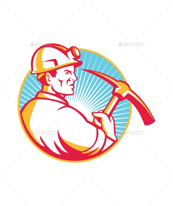 Coal Miner with Pick Axe Looking Up Retro - People Characters