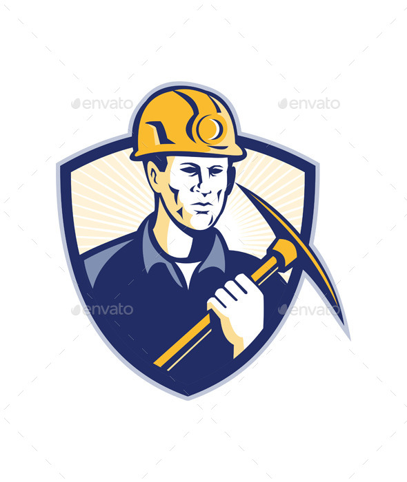 Coal Miner With Pick Axe Shield Retro - People Characters