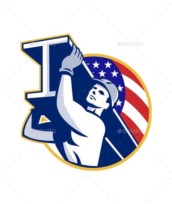 Construction Steel Worker I-Beam American Flag - People Characters