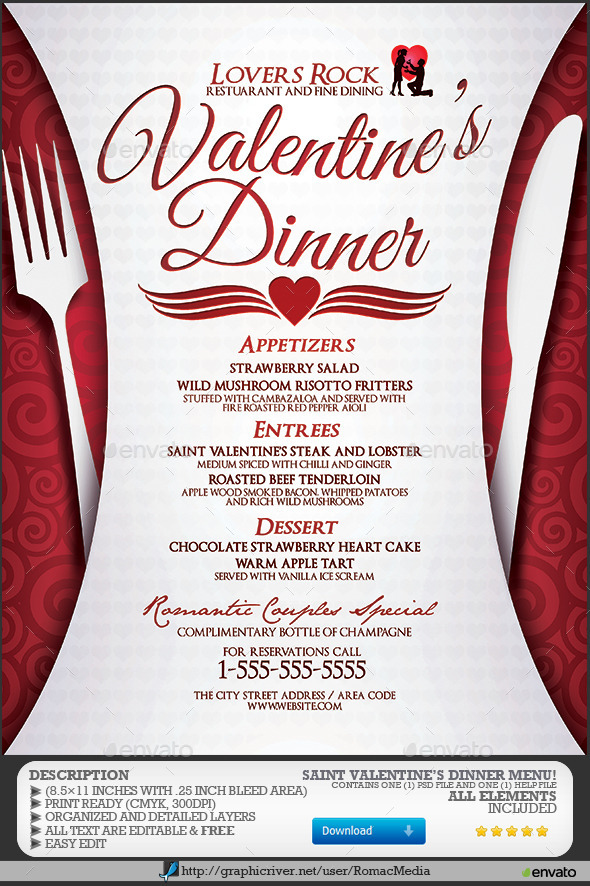 Valentine's Dinner Menu - Events Flyers