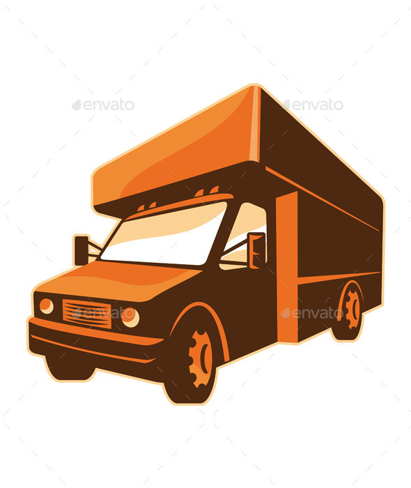 Retro Moving Truck Delivery Van  - Objects Vectors