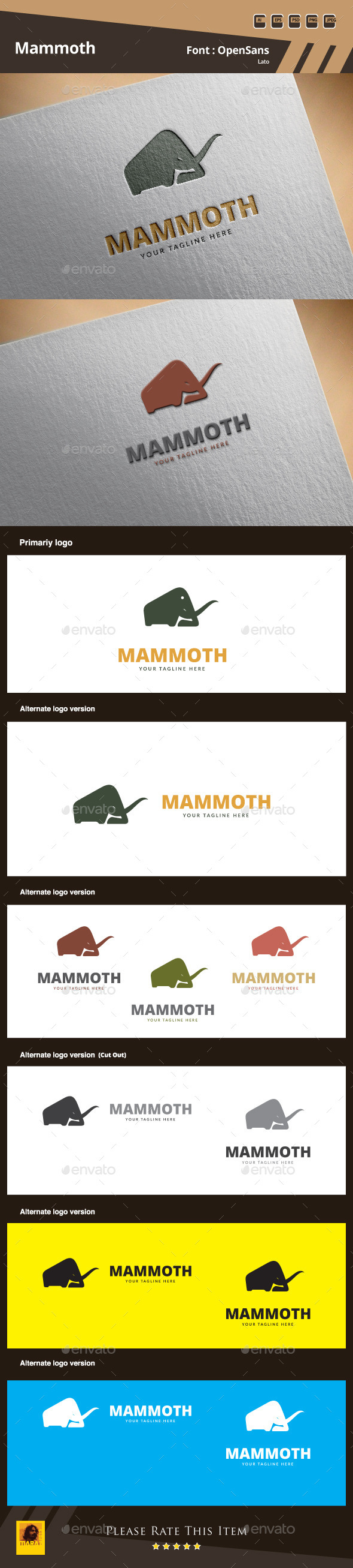 Mammoth Logo Template - Animals Logo Templates
