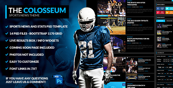 The Colosseum – Sports Magazine PSD Template