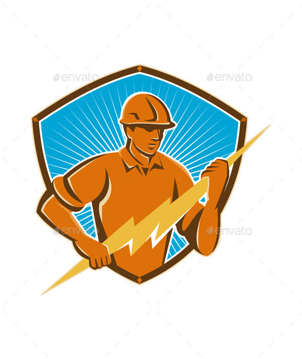 Electrician Construction Worker Retro - People Characters