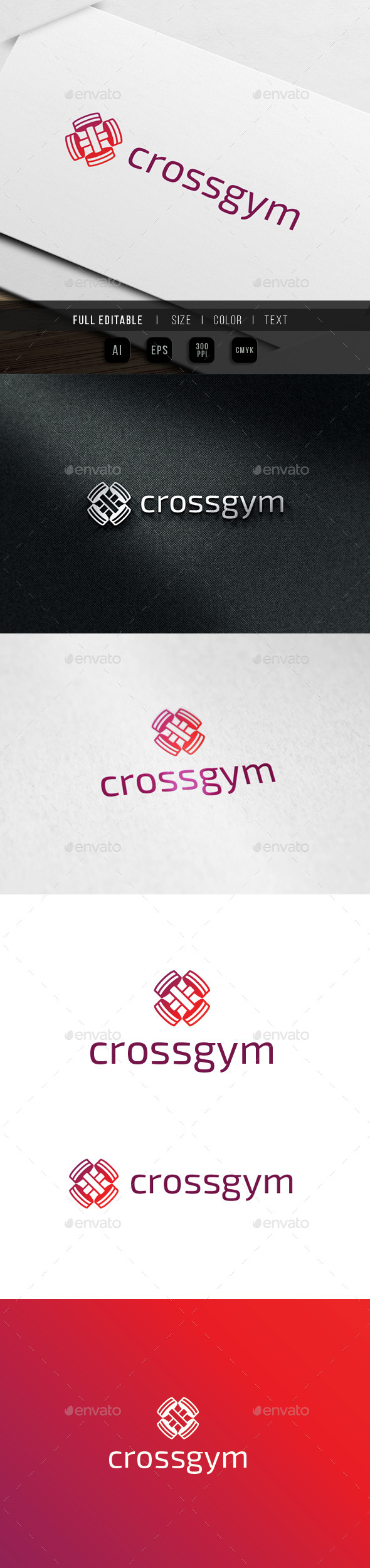 Cross Gym - Barbell Fitness Logo - Objects Logo Templates